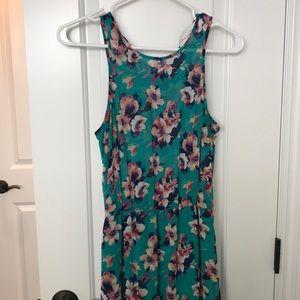 Sleeveless high low floral dress